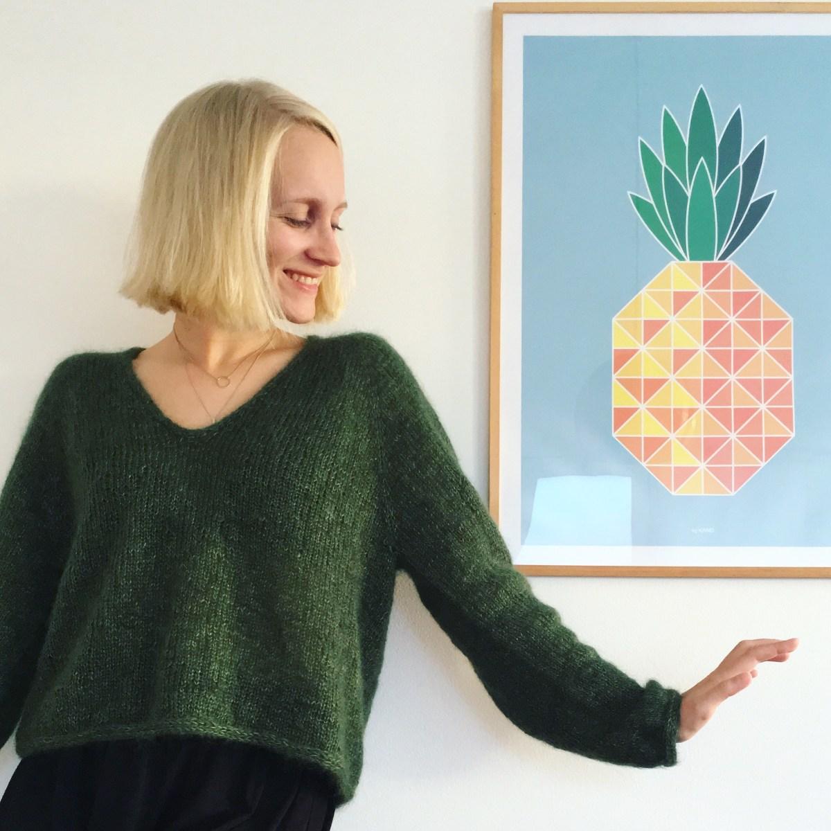 Resultatet af mit seneste strikkeprojekt: Kumulus Bluse