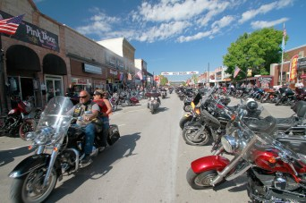 Thousands of bikers rode through the streets for the opening day of the 80th annual Sturgis Motorcycle rally yesterday.