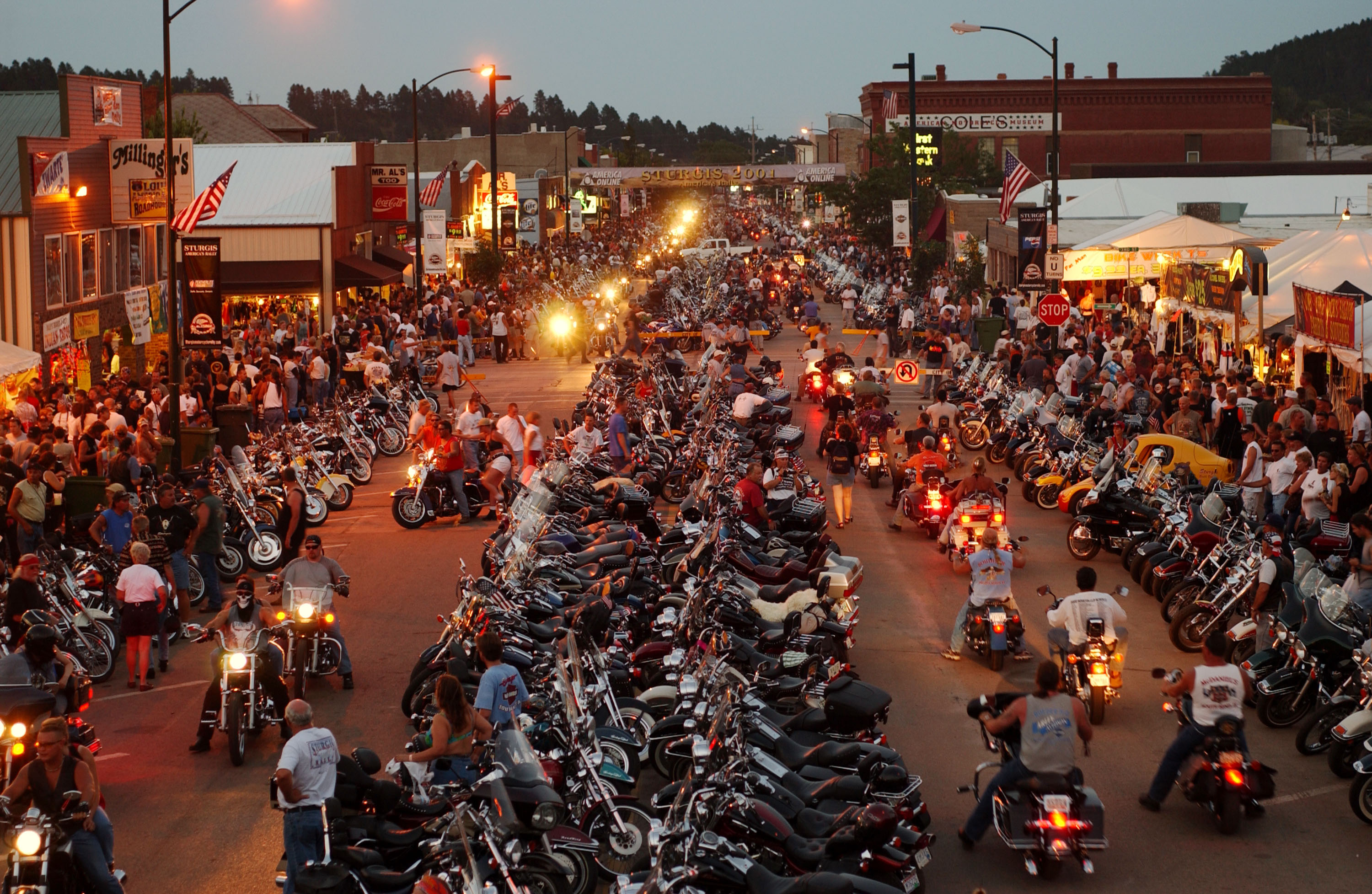 Thousands of motorcycles fill Main Street in Sturgis, South Dakota.