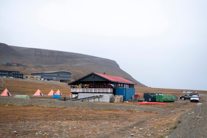 The Longyearbyen camp site after a polar bear attacked the site and killed a man in Norway's remote Svalbard Islands in the Arctic.