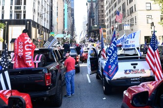 Supporters of president Donald Trump close down 5th Ave. outside of Trump Tower