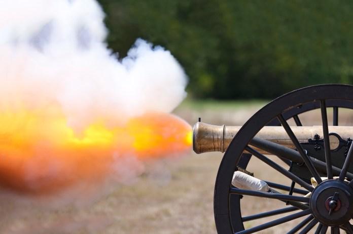 A close up shot of a Civil War cannon