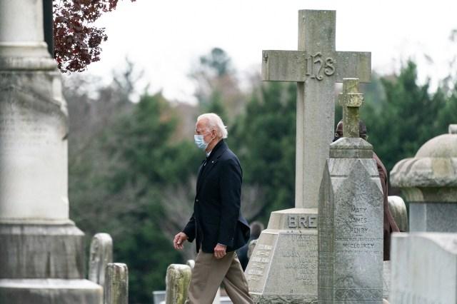 President-elect Joe Biden departs after mass at St. Joseph in Brandywine Catholic Church in Wilmington, Delaware.