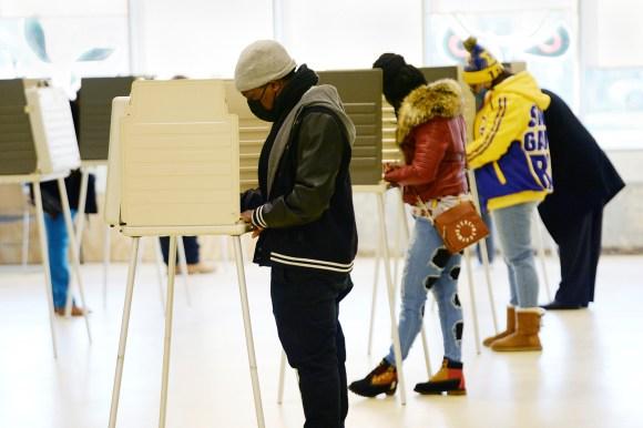 Voters cast their ballots at the Oak Park Community Center in Oak Park, Michigan.