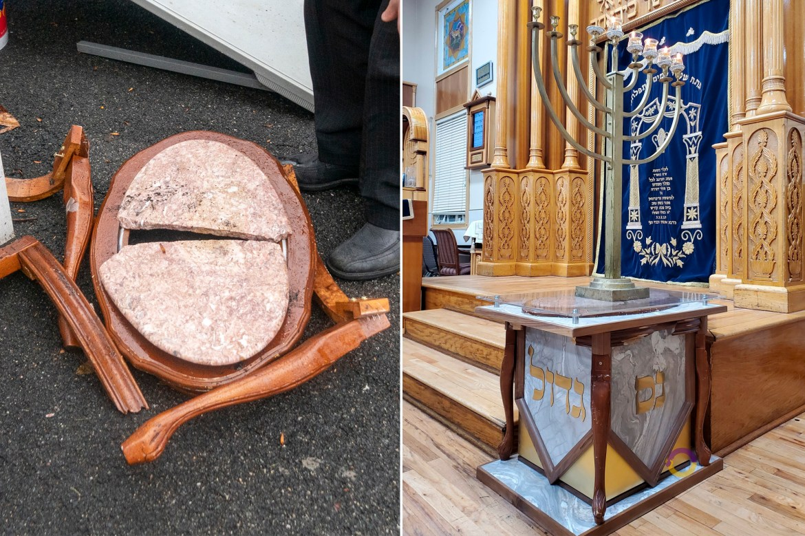 Table used to stop accused Monsey Hanukkah slasher turned into menorah stand 1