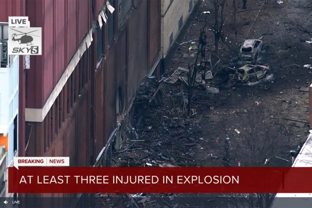 Nashville News 5 aerial footage of the explosion scene Friday, Dec. 25, 2020.