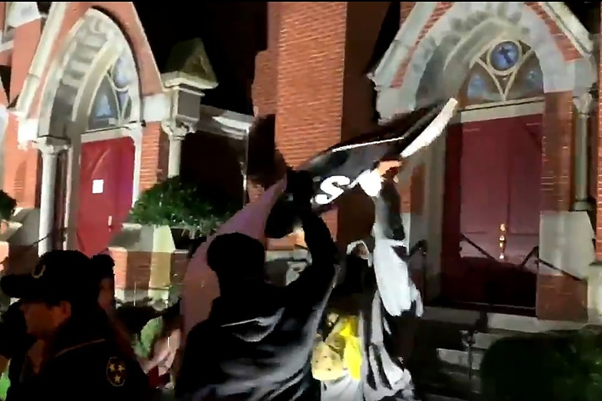 Video shows Proud Boys tearing down BLM sign outside black church in DC 1