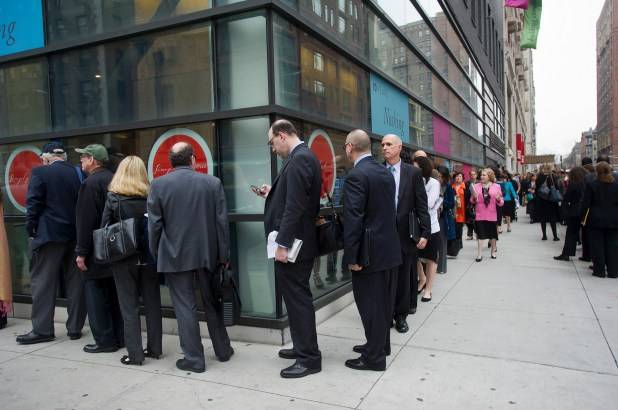 Job seekers attend a job fair on the Upper West Side in New York