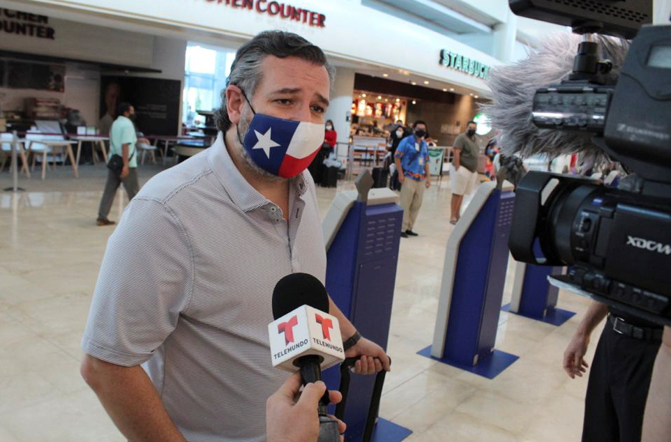 U.S. Senator Ted Cruz (R-TX) speaks to the media at the Cancun International Airport before boarding his plane back to the U.S., in Cancun