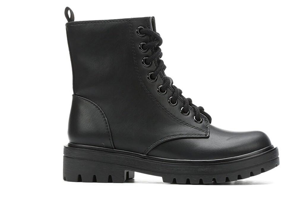 A plain black combat boot