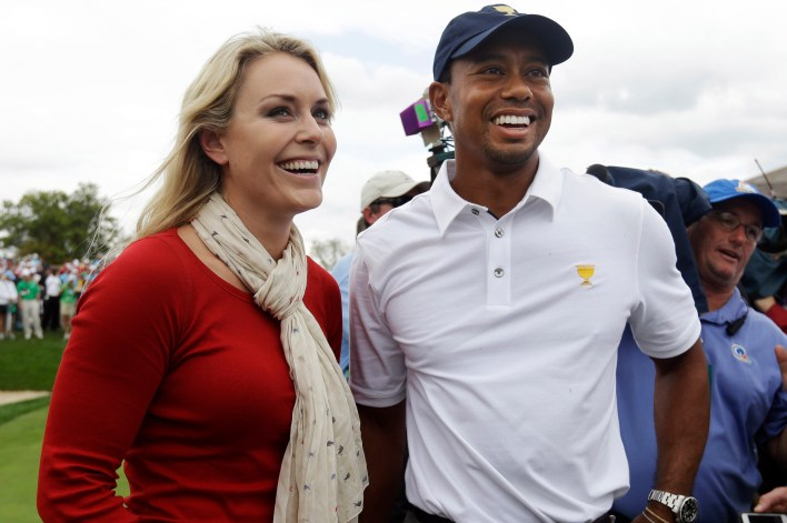 Lindsey Vonn and Tiger woods at the Presidents Cup golf tournament in Dublin, Ohio on October 6, 2013.