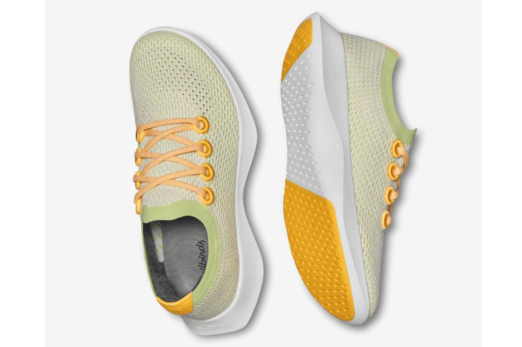 A pair of yellow and green running shoes