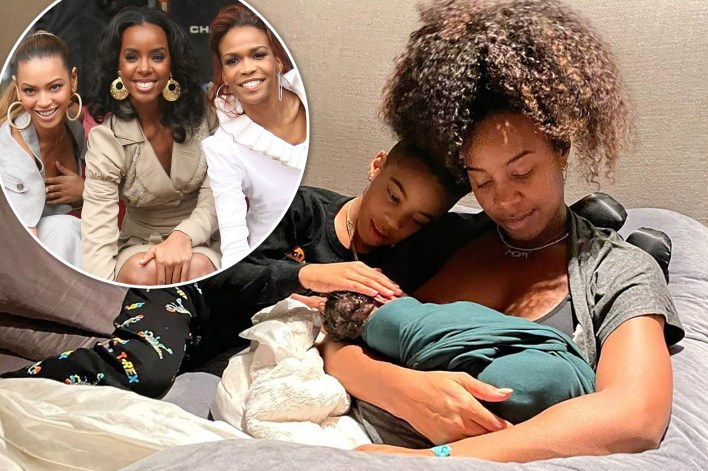 Kelly Rowland says Beyoncé and Michelle Williams were watching her baby son Noah's birth via Zoom. Inset: Destiny's Child at their Hollywood Walk of Fame star.