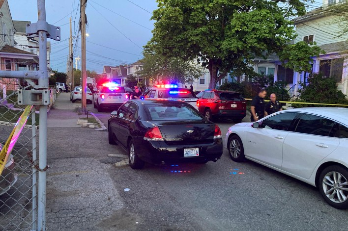 Authorities respond to the scene where multiple people were wounded in a shooting, Thursday, May 13, 2021, in Providence, R.I.