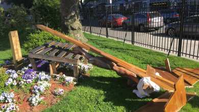 Jesus statue toppled, American flag burned in Brooklyn church attack