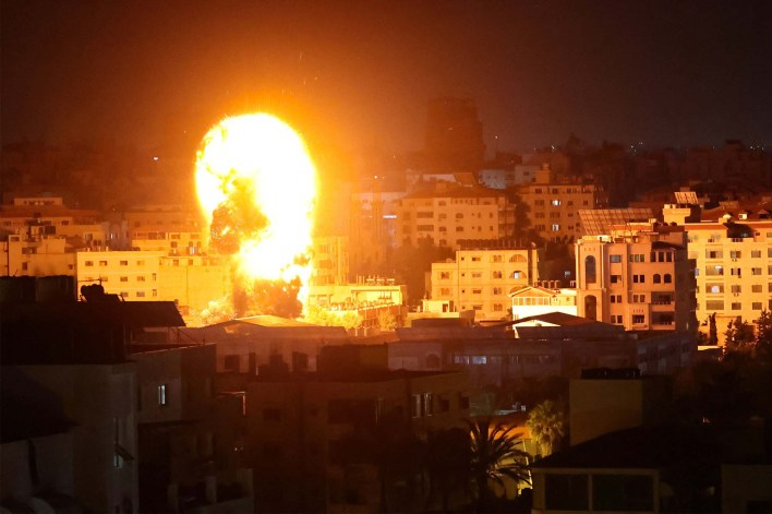 A building getting hit by an Israeli airstrike in Gaza on May 17, 2021.