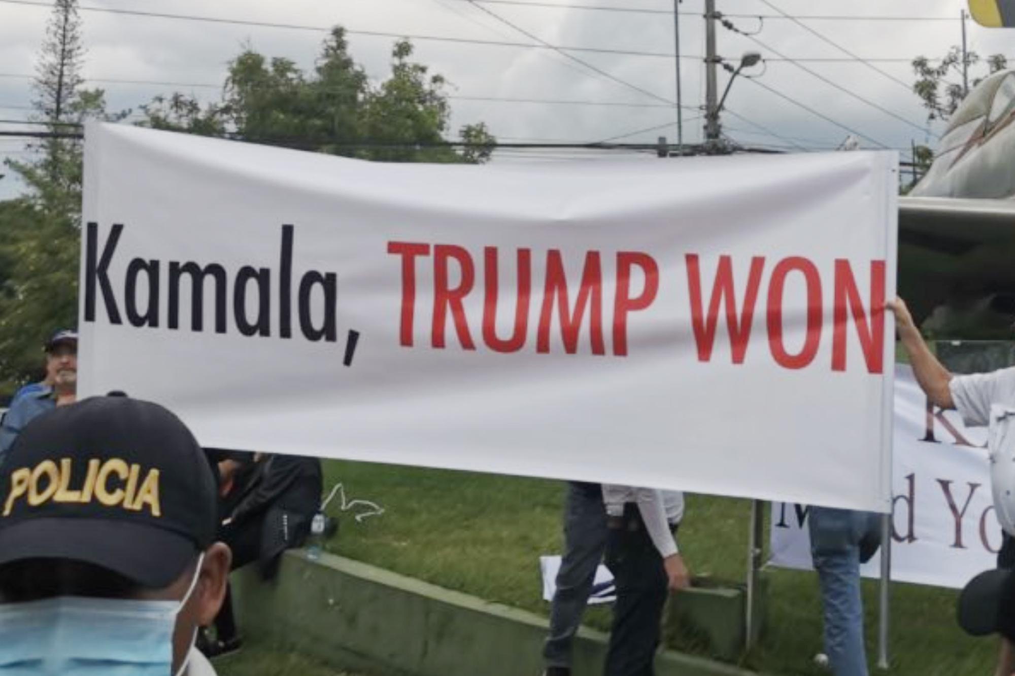 Guatemala protesters tell Kamala Harris 'Trump won'