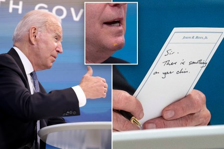 Joe Biden gets aide's note: 'Sir, there is something on your chin'