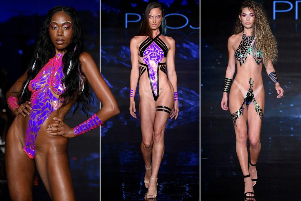 Swimsuit models dazzle catwalk in bikinis made of tape