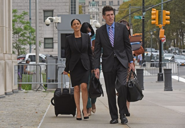 R. Kelly's defense lawyers Nicole Becker and Thomas Farinella arriving at the trial in Brooklyn on August 18, 2021.
