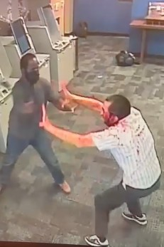 Surveillance video shows a 51-year-old man being attacked by a shock-absorbing maniac in the ATM vestibule of a Chase bank on Broadway near Beaver Street in the Financial District, Sunday, August 15, 2021.
