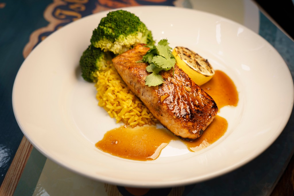 A grilled salmon dish at Margaritaville in Times Square.