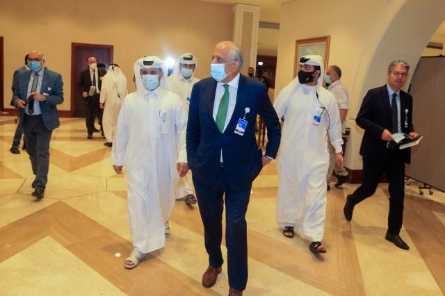 Zalmay Khalilzad, US special envoy for Afghanistan, arrives for Afghan peace talks in Doha, Qatar on Aug. 12, 2021.