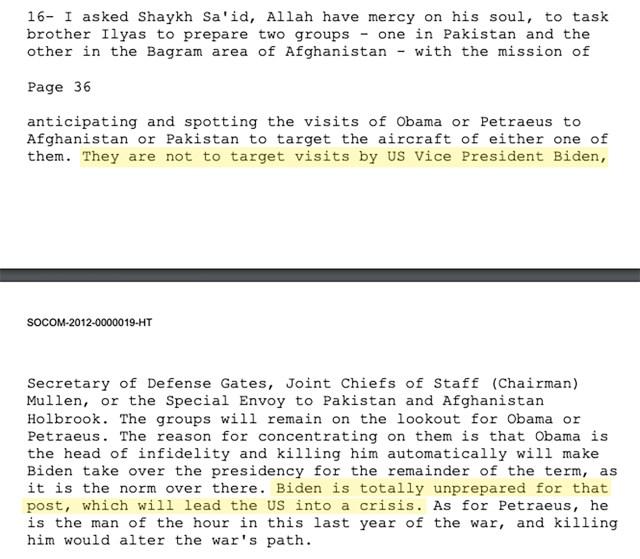 """Révélation: Ben Laden a averti dans une lettre de 2010 que Biden """"conduirait les États-Unis à la crise"""""""