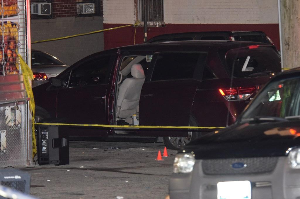 Van at the scene of a shooting in the Bronx.