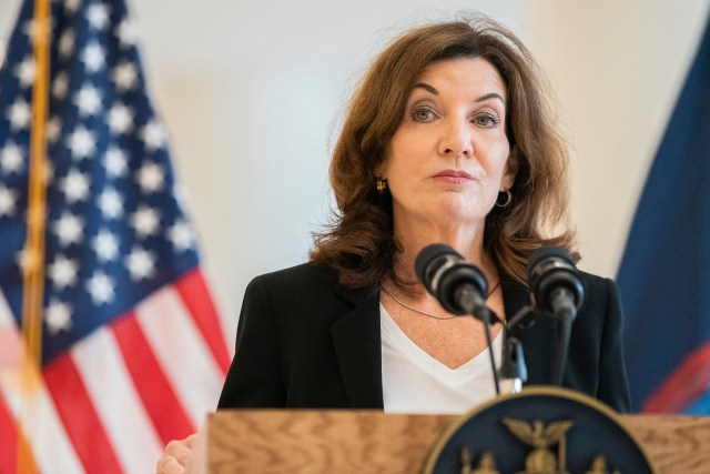 Incoming Governor Kathy Hochul speaking at a podium