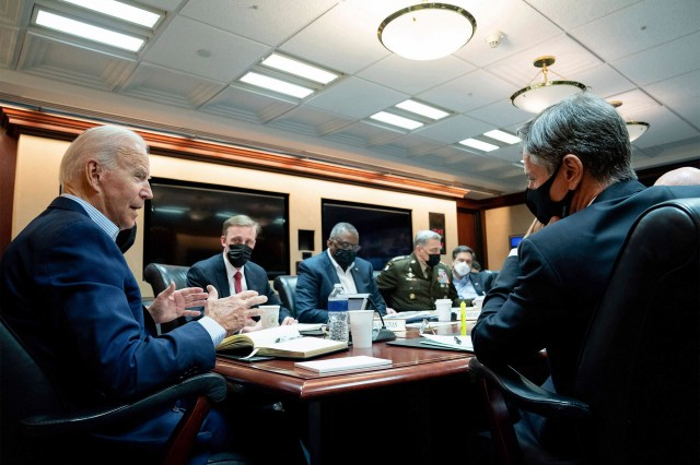 President Joe Biden meeting with the national security team in the White House Situation Room on August 22, 2021.