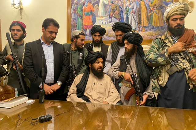 Taliban fighters take control of Afghan presidential palace after the Afghan President Ashraf Ghani fled the country, in Kabul, Afghanistan, on August 15, 2021.