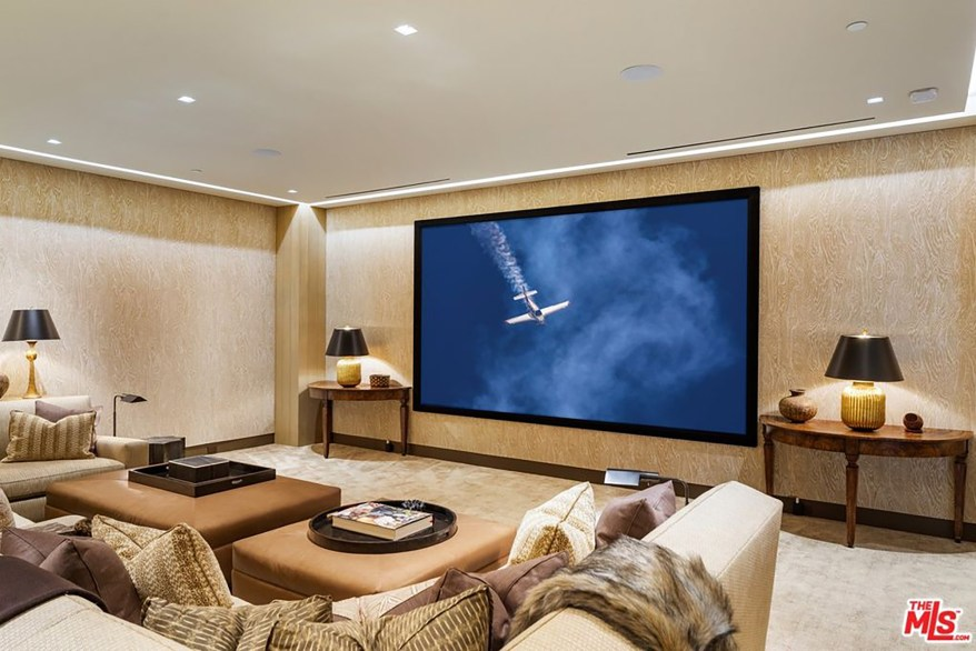 The home theater is pictured.