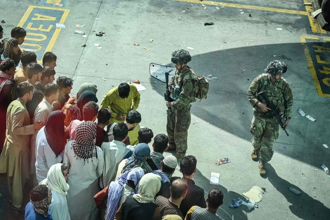 US troops await withdrawal from Kabul at the airport on August 16, 2021.