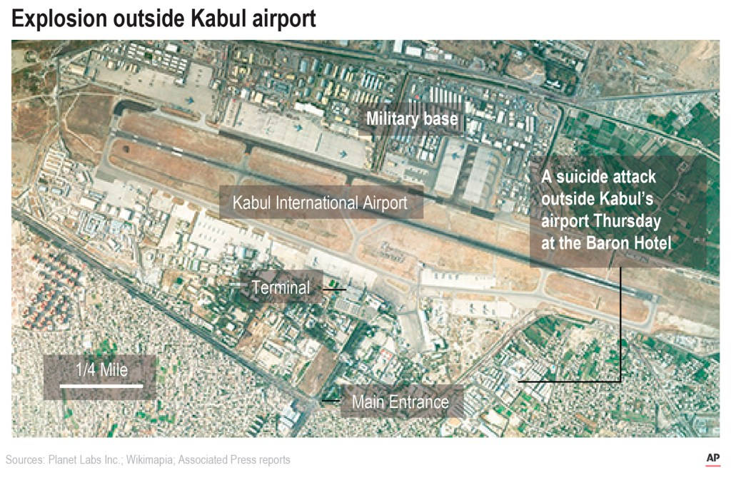 A satellite image shows Kabul International Airport showing of the explosions that killed 13 US service members and several Afghans.