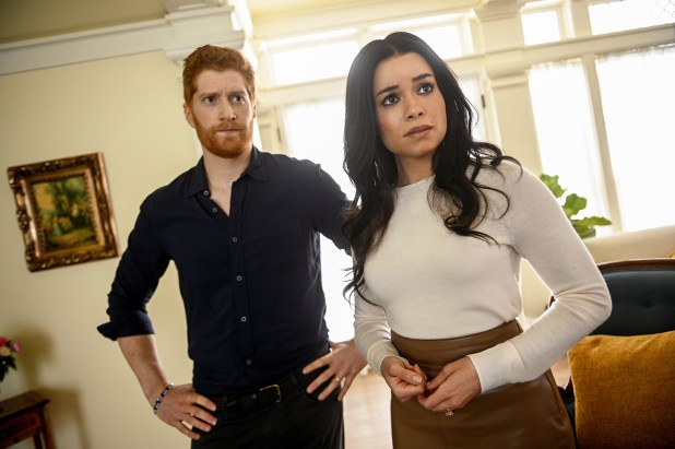 Jordan Dean and Sydney Morton looking concerned as Harry and Meghan.