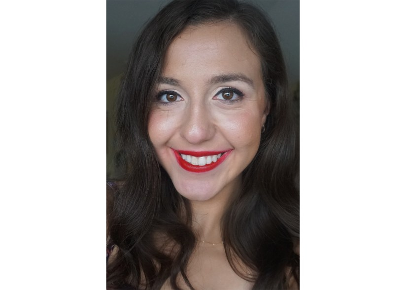 Victoria Giardina wearing Too Faced's 'Lady Bold' Em-Power Lipstick.