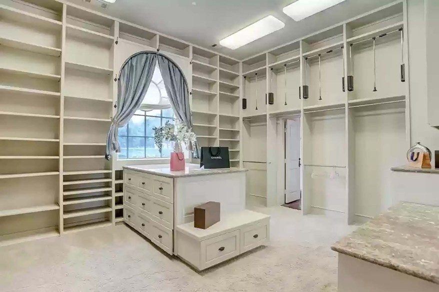 One of the home's walk-in closets is pictured.