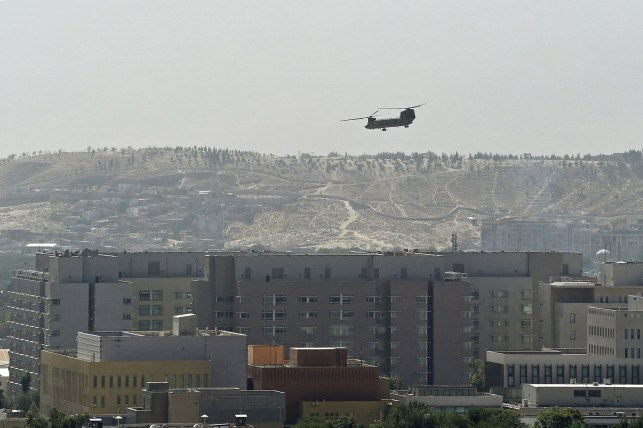 A US military helicopter took off from the US Embassy in Kabul on August 15, 2021.