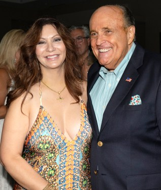 Former Mayor Rudy Giuliani with his girlfriend Maria Ryan at the party.