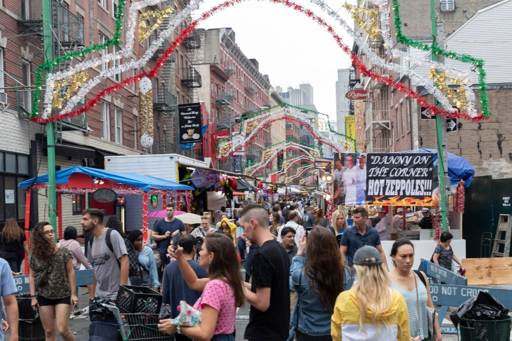 The opening day of the 93rd annual Feast of San Gennaro on Mulberry Street in Little Italy, Manhattan.