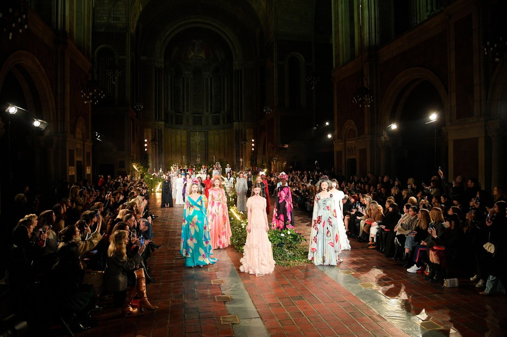 Models in colorful gowns at a 2020 New York Fashion Week