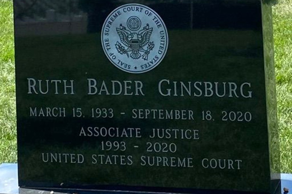 Ruth Bader Ginsburg's headstone, complete with the seal of the Supreme Court, was revealed on September 12, 2021.