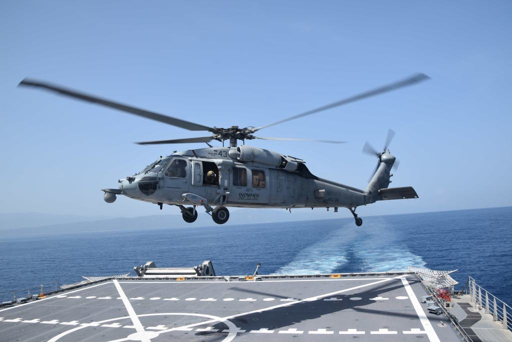 An MH-60S Sea Hawk helicopter, the same model that crashed in the Pacific Ocean.