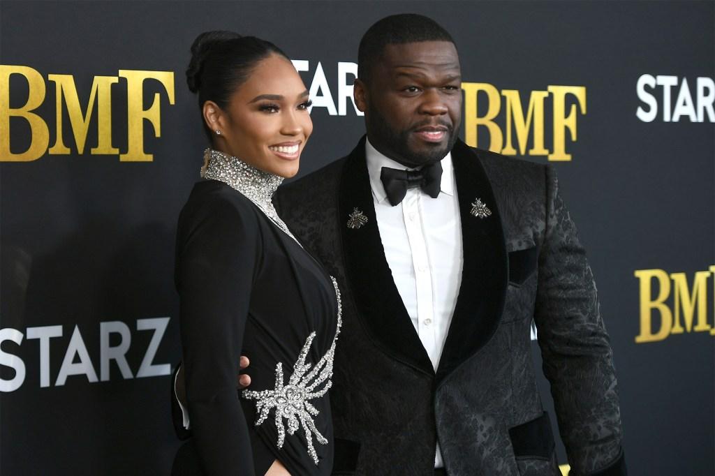 "Curtis ""50 Cent"" Jackson and Jamira Haines attend STARZ Series ""BMF"" World Premiere at Cellairis Amphitheatre."