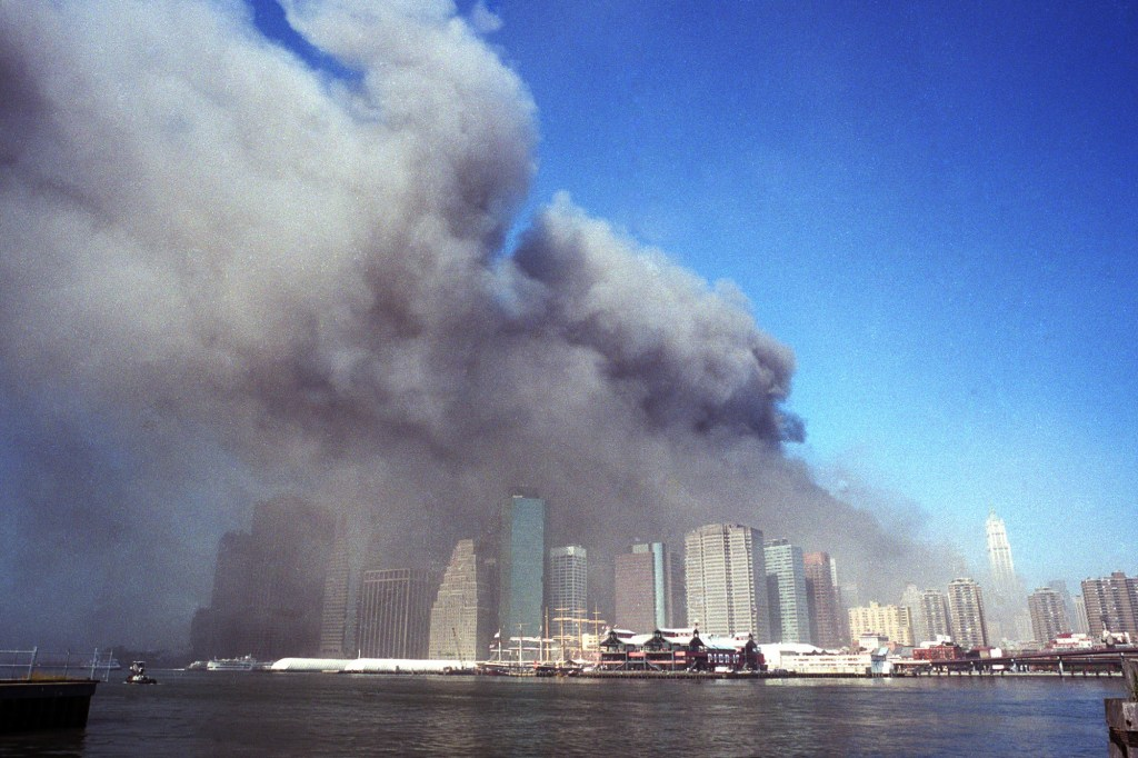 Neville Elder's photographs of downtown Manhattan on 9/11/01 were published worldwide. ten years later he returned to the same places where he made those memorable pictures and photographed New York City as it is today.  Picture shows the Downtown Manhattan skyline (view from Brooklyn) as it was Septenber 11th 2001.