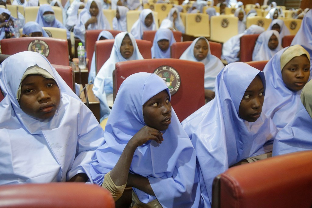 students who were abducted by gunmen from the Government Girls Secondary School, in Jangebe, after their release meeting with the state Governor Bello Matawalle, in Gusau, northern Nigeria.