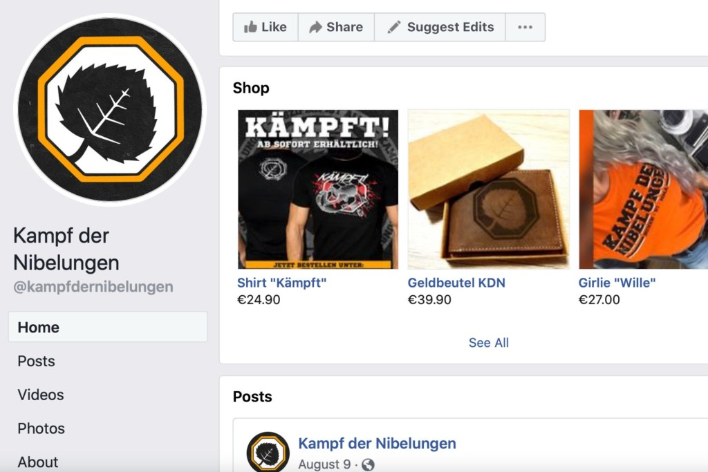 This image captured from the Battle of the Nibelungs Facebook page on Friday, Sept. 24, 2021 shows items for sale featuring the right-wing extremist group's name and logo.