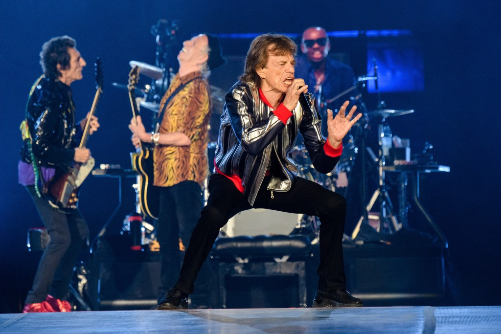 Mick Jagger sings on stage with the Rolling Stones in St. Louis.