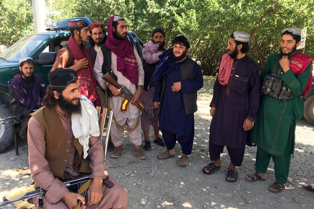 Taliban soldiers grouped up in their newly run country.